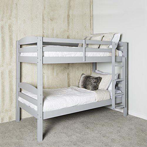 WE Furniture Solid Wood Twin Over Twin Bunk Bed, Gray