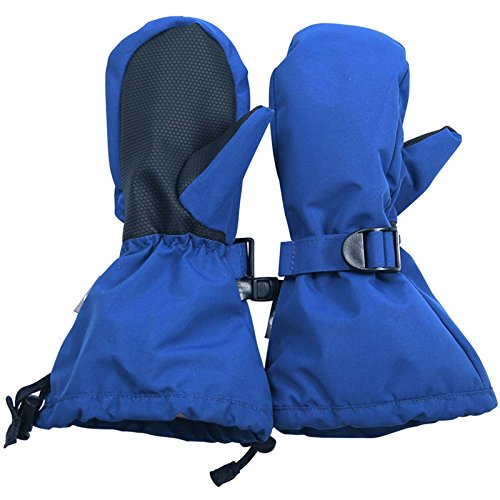(Waterproof Stay-on Winter Snow and Ski Mittens Fleece-Lined for Baby Toddler Kids Girls and Boys (S: 2-4Y, Snow Mitten: Blue))