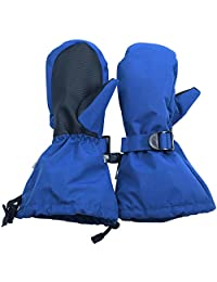 Waterproof Stay-on Snow Mittens for Baby Toddler Kids (M: 4-6Y, Blue)