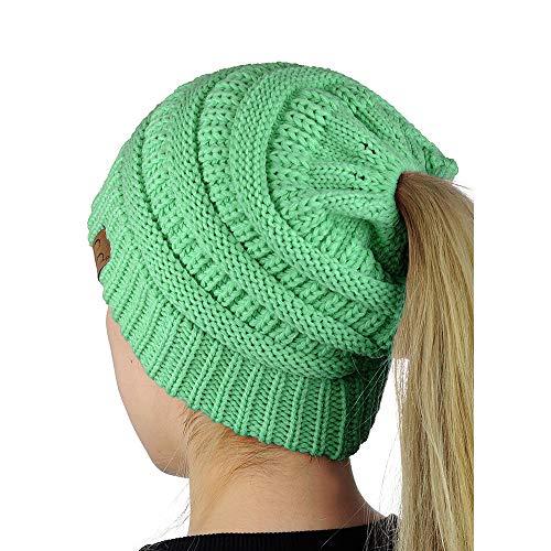 (Sage Womens Beanie Tail Messy Soft Bun Ponytail Stretchy Winter Hat NA806)