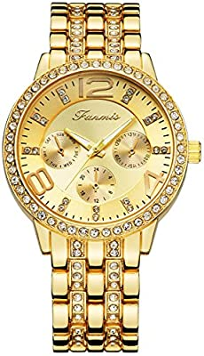 Fanmis Luxury Round Rhinestone Stainless Steel Watches Unisex Classic Analog Display Japanese Quartz Watch by Fanmis