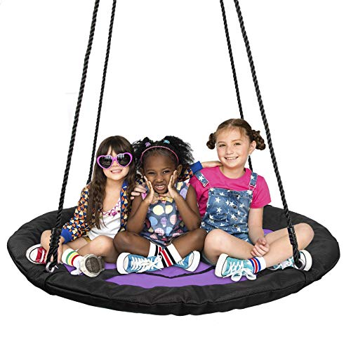 "SUPER DEAL 40"" Waterproof Saucer Tree Swing - 360 Rotate° - 450 lbs Weight Capacity - Attaches to Trees or Existing Swing Sets - Adjustable Hanging Ropes - for Kids, Adults and Teens (Purple Swing)"