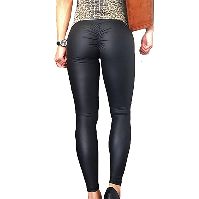 Hibote Leggings Mujer Cintura Alta Pantalones Deportivos Pantalones elásticos Yoga Medias Push up Pantalones de Correr Leggins 4 Colores S-XL: Amazon.es: ...