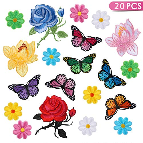 Kissbuty 20 Pcs Flowers Butterfly Iron on Patches Sew on Embroidery Applique Patches for Arts Crafts DIY Decor, Jeans, Jackets, Clothing, Bags(Rose/Lotus/Sun Flower/Butterfly Decorative ()