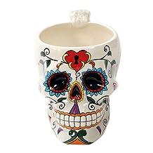 White Tribal Day of The Dead Love Lock Sugar Skull Drink Coffee Mug Cup Ceramic by DWK