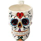 White Tribal Day of The Dead Love Lock Sugar Skull Drink Coffee Mug Cup Ceramic