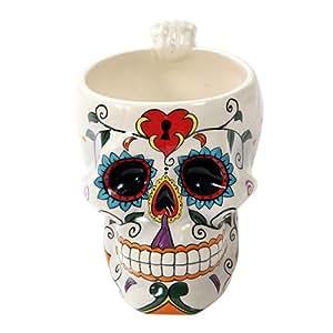 White Tribal Day of The Dead Love Lock Sugar Skull Drink Coffee Mug Cup Ceramic