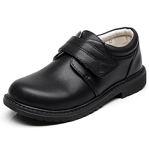 rismart Boys Hook&Loop Formal Prince Round Toe Oxfords Dress Shoes