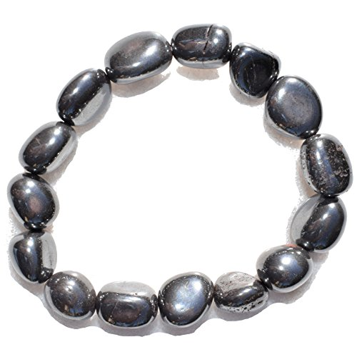 Charged Natural Hematite Crystal Bracelet Tumble Polished & Stretchy ()