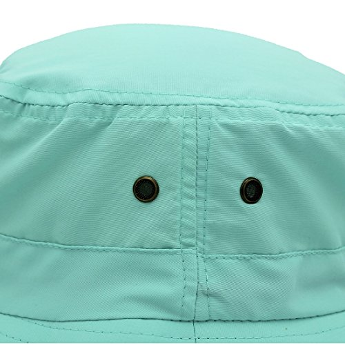 LLmoway Outdoor UPF50+ Summer Sun Cap Lightweight Packable Dry Fit Bora Boonie Hat with Cords AQU by LLmoway (Image #5)