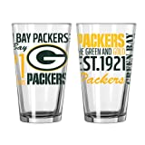 NFL Green Bay Packers Spirit Pint Glass, 16-ounce, 2-Pack