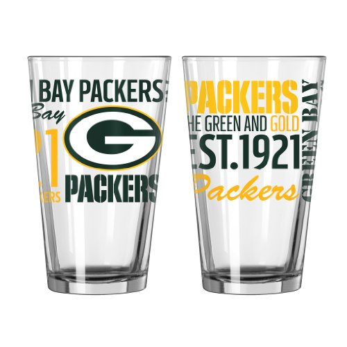 NFL Green Bay Packers Spirit Pint Glass, 16-ounce, 2-Pack