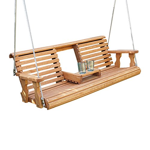 Porchgate Amish Heavy Duty 800 Lb Rollback Console Treated Porch Swing With Hanging Ropes (Semi-Solid White Stain)