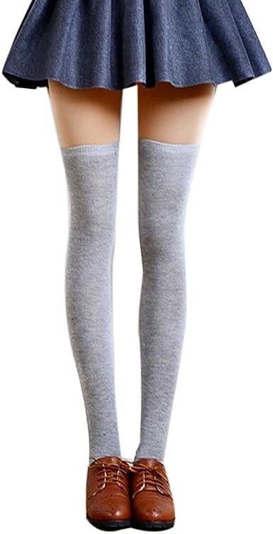 Coversolate Mujer Algodón Calcetines hasta la rodilla Medias (Gris claro): Amazon.es: Ropa y accesorios