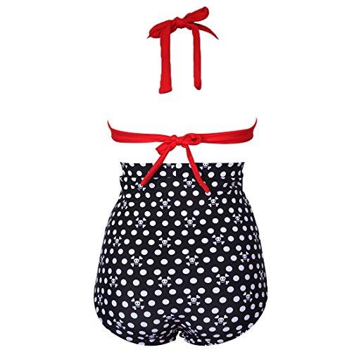 Spring Fever Retro 50s elegante Vintage Alta Cintura bikini traje de baño (FBA) E-Red Black Skull