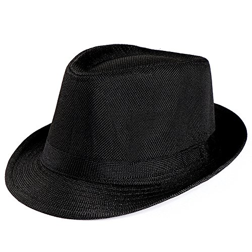 Excursion Sports Trilby Straw Hat, Wide Brim Roll up Foldable Hat, Summer Beach Sun Hat Fashion Gangster Cap for Men and Women - Camping Accessories (Black)