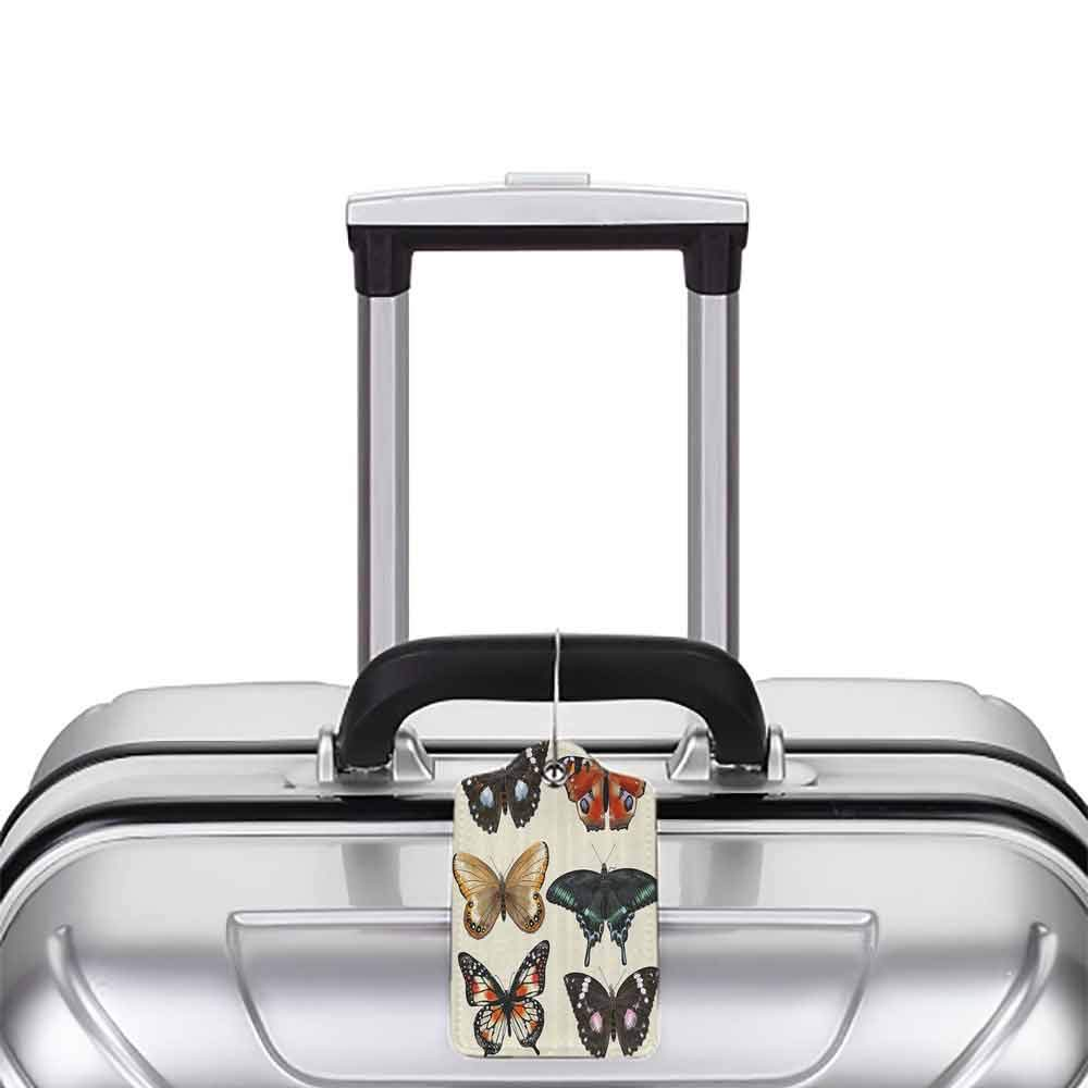 Small luggage tag Retro Colorful Different Type of Butterfly Figures Spiritual Wings Moth Old Fashion Print Quickly find the suitcase Multicolor W2.7 x L4.6