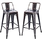 Merax PP038358LAA PP038358 Bar Stools Low Back High Feet Indoor and Outdoor 26 Inch Height Metal Chairs Set of 2 (Golden Black)