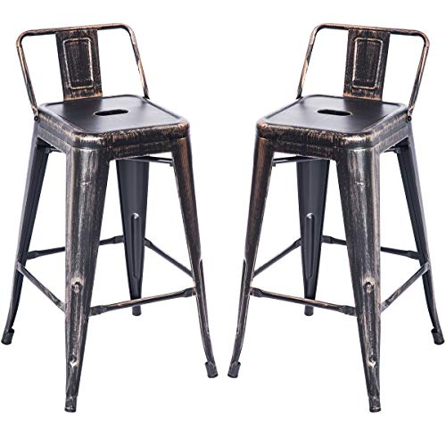 Merax PP038358LAA PP038358 Bar Stools Low Back High Feet Indoor and Outdoor 26 Inch Height Metal Chairs Set of 2 Golden Black