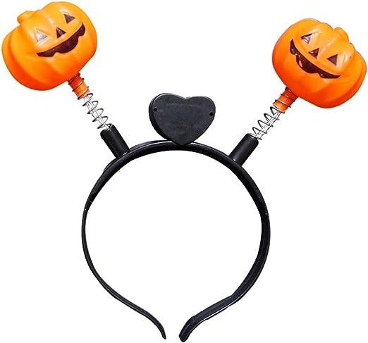 Skull /& Pumpkin Brand NEW in Pkg. Lot of 2 Glow Light Halloween Headbands