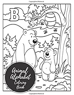 animal alphabet coloring book abc letters large one sided patterns - Alphabet Coloring Book
