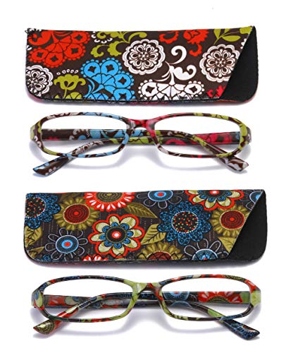 (SOOLALA 2-Pair Designer Fashionable Spring Hinge Rectangular Reading Glasses w/Matching Pouch, RedYellow, 1.5)