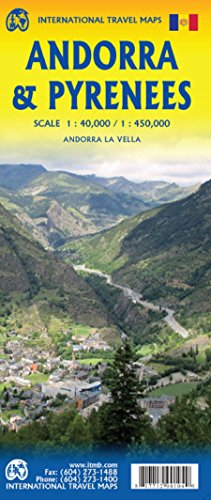 Pyrenees & Andorra Travel Reference Map 1:450,000/1:40,000