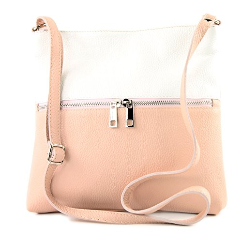 Weiß Ladies Leather de Shoulder Shoulder Rosabeige Bag Modamoda Bag ital Leather T144 Bag Crossover Ox0wvZn