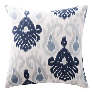 Ikat Navy Blue Porcelain Cotton Canvas Decorative Pillow