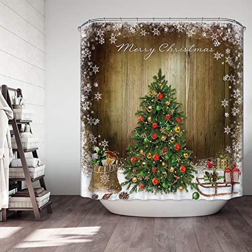 Simpkeely Christmas Snow Tree Shower Curtain, Vintage Style Merry Christmas Festival House D