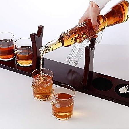 Set De Juego De Decantador De Whisky, Ak47 Botella Licorera De Whiskey De 800 Ml, 4 Vasos Cristal De Wiski Bullet Y Base De Madera De Caoba, Decanter para Licor Vodka para Padre