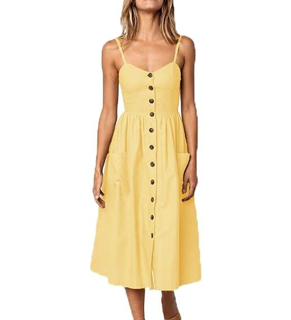 Vestido de Verano para Mujer Falda Midi de una Sola Fila con Cuello en V y Correa: Amazon.es: Ropa y accesorios