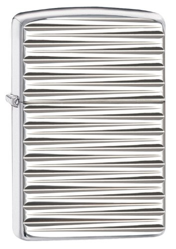 Zippo Armor Horizontal Lines Lighter, High Polish Chrome