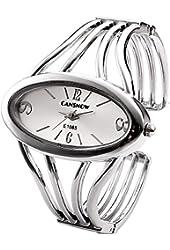 Top Plaza Womens Fashion Bangle Cuff Bracelet Quartz Watch, Oval Face Silver Tone - Silver Face