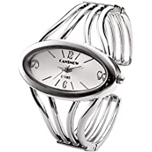 JSDDE Women Elegant Oval Silver Tone Bangle Cuff Bracelet Dress Watch 6''-Thanksgiving Christmas Gift