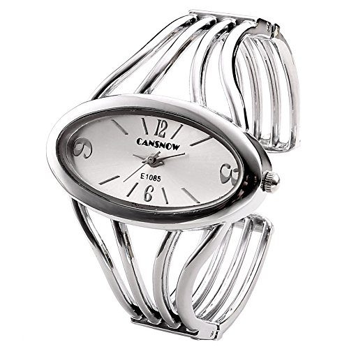 JSDDE Women Elegant Oval Silver Tone Bangle Cuff Bracelet Dress Watch 6''-Thanksgiving Christmas ()
