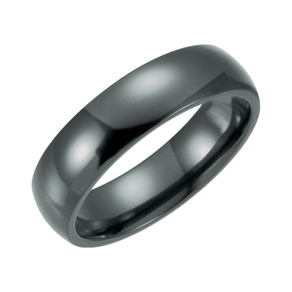 Bonyak Jewelry Black Titanium 6 mm Domed Polished Band Size 10 in Black Titanium
