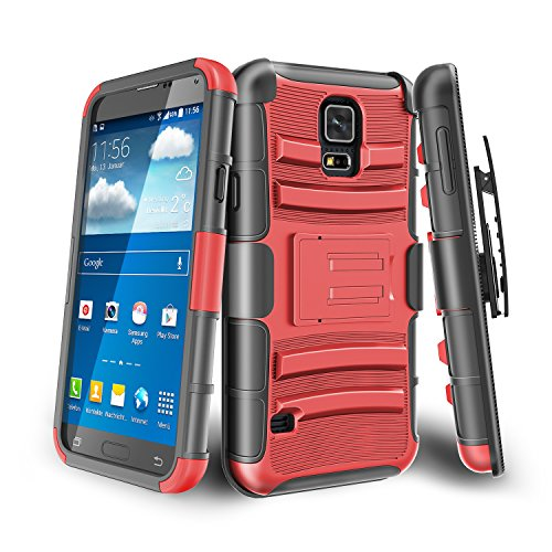 Galaxy S5 Case,TILL [Knight Armor] Shock Absorbing Heavy Duty Full-body Rugged Holster Case [Belt Swivel Clip][Kickstand] Combo Cover Shell For Samsung Galaxy S5 S V I9600 GS5 All Carriers [Red]