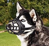 Dog Muzzle Nylon with Soft Padding, Adjustable Loop, Black (Size 1)