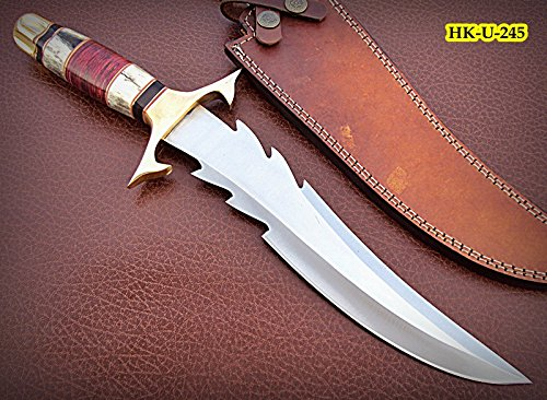 REG-HK-U-245, Custom Handmade 440 C Stainless Steel 15 Inches Hunting Knife - Beautiful Doller Sheet & Colored Bone Handle with Brass - Hk Custom Shop