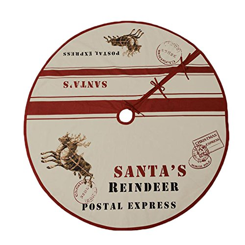 Santa's Reindeer Postcard 60 Inch Cotton Christmas Tree Skirt
