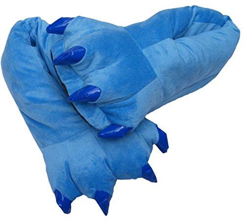 Japsom Unisexe Confortable Flanelle Maison Monstre Pantoufles Halloween Animal Costume Patte Griffe Chaussures Bleu