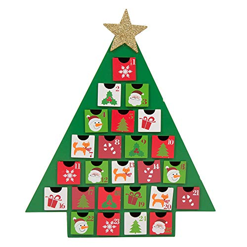 Glitzhome Christmas Wooden Tree Countdown, Advent Calendar with Drawer, Green