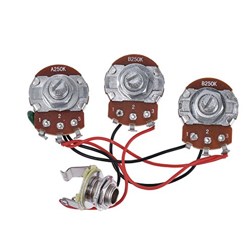Bass Wiring Harness Prewired Kit 250K Pots 2 Volume 1 Tone For Jazz Bass Electric Guitar Parts