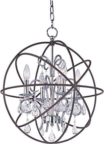 Maxim 25142ARPN Orbit Crystal Chandelier, 4-Light 80 Watts, 22 H x 19 W, Anthracite and Polished Nickel