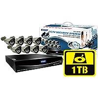 KGUARD Security EL1622-2CKT005-1TB Easy Link Pro Series 16 Channel QR Cloud 960H DVR with Cameras (Grey)