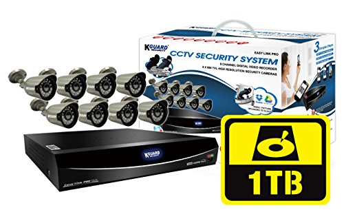 KGUARD-Security-EL1622-2CKT005-1TB-Easy-Link-Pro-Series-16-Channel-QR-Cloud-960H-DVR-with-Cameras-Grey