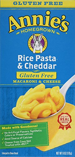 - Annie's Homegrown Gluten-free Rice Pasta & Cheddar Mac & Cheese, 6-ounce Boxes-pack of 6