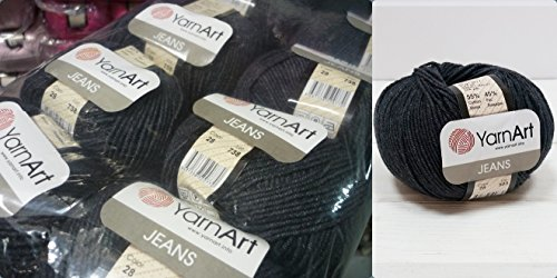55% Cotton 45% Acrylic Yarn YarnArt Jeans Cotton Blend Thread Crochet Hand Knitting Art Lot of 8skn 400 gr 1392 yds color Anthracite 28 by Yarn Art