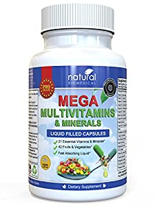 MEGA MULTIVITAMIN Multi-Vitamins & Minerals Supplement. Everyday Liquid Multivitamins Capsules for Adult Men & Women Daily Health.